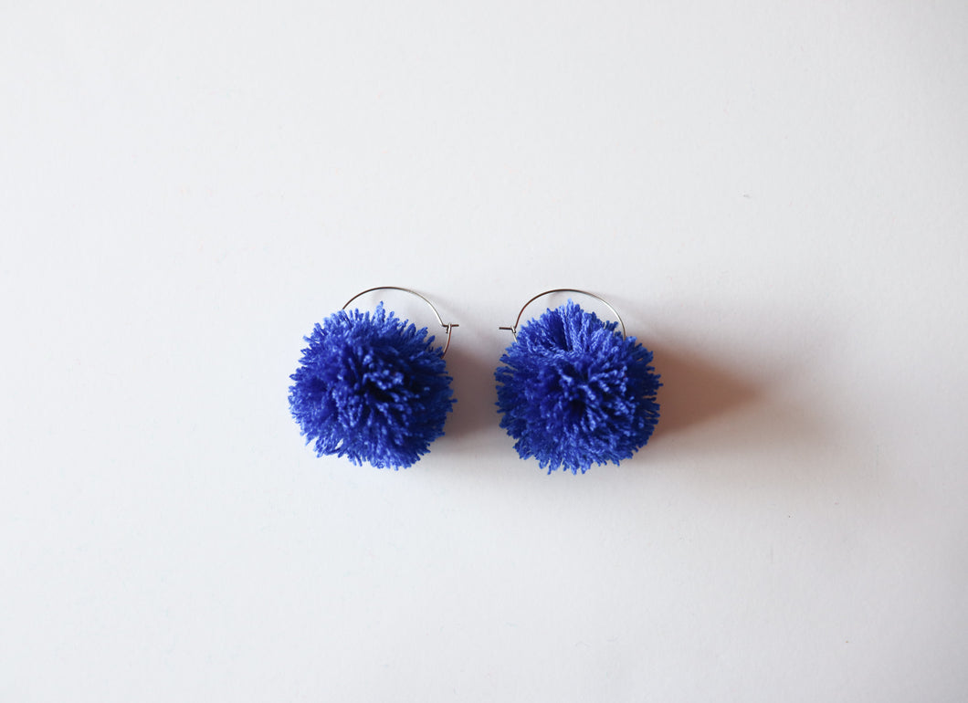 ROYAL BLUE POM POM EARRINGS