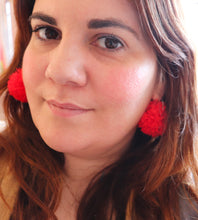 Load image into Gallery viewer, RED POM POM EARRINGS