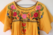 Load image into Gallery viewer, VINTAGE MEXICAN EMBROIDERED DRESS- YELLOW