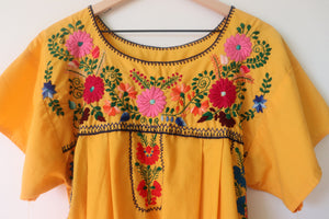 VINTAGE MEXICAN EMBROIDERED DRESS- YELLOW