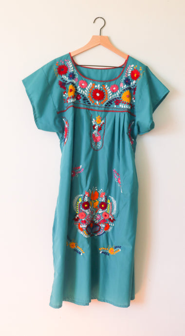 VINTAGE MEXICAN EMBROIDERED DRESS- TURQUOISE