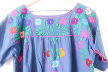 Load image into Gallery viewer, VINTAGE HAND EMBROIDERED DRESS- BLUE