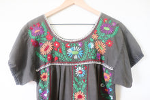 Load image into Gallery viewer, VINTAGE MEXICAN EMBROIDERED DRESS- WASHED GREY