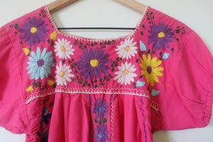 VINTAGE MEXICAN EMBROIDERED DRESS- PINK