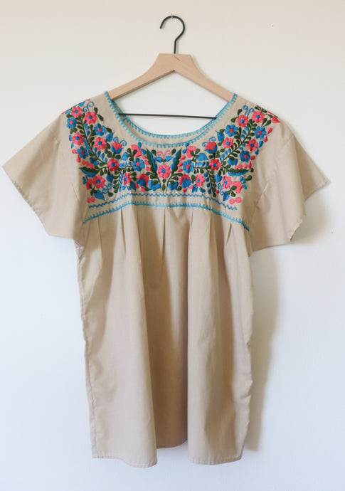 VINTAGE MEXICAN EMBROIDERED TOP- TAN