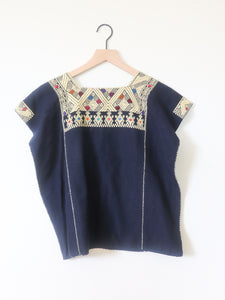 VINTAGE EMBROIDERED TOP- NAVY