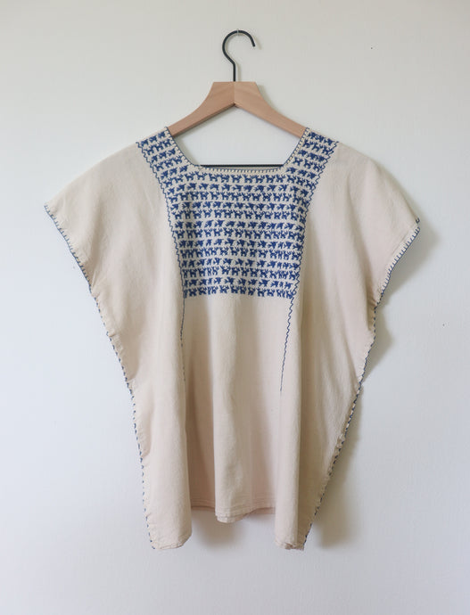 VINTAGE EMBROIDERED TOP - CREAM WITH BLUE