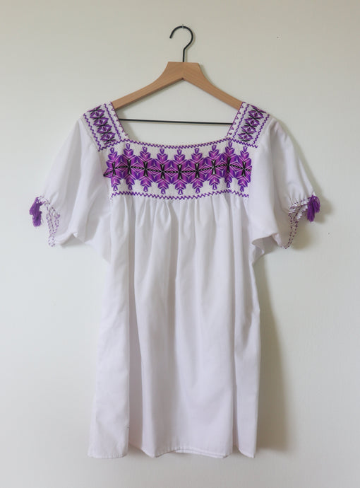 VINTAGE EMBROIDERED TOP- WHITE WITH PURPLE