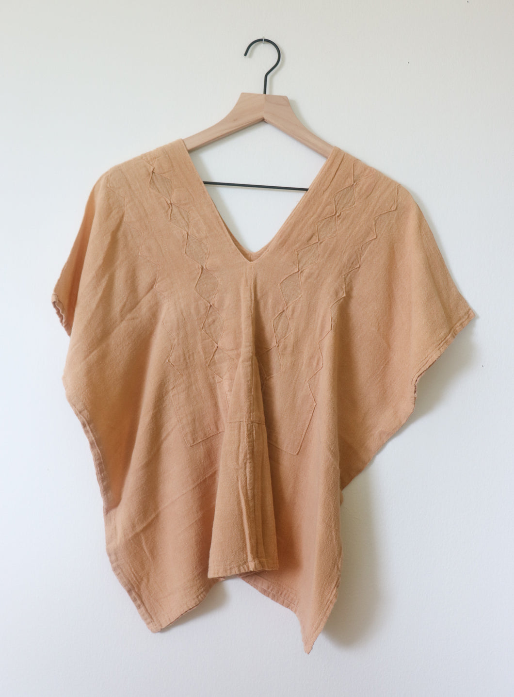 VINTAGE STITCHED TOP- TAN
