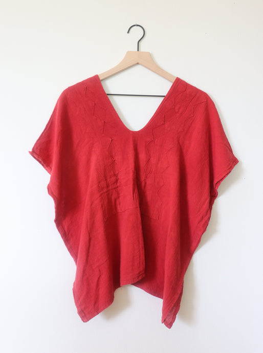 VINTAGE STITCHED TOP- RED