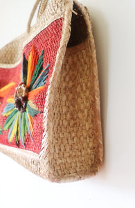 VINTAGE STRAW BAG WITH EMBROIDERY