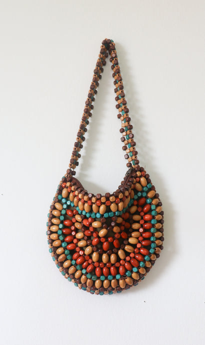 VINTAGE BEADED ROUND BAG- SMALL