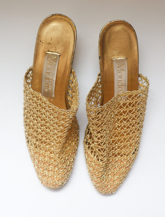VINTAGE GOLD WOVEN MULES