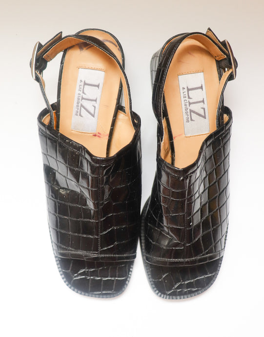 VINTAGE BLACK PATENT LEATHER MULES