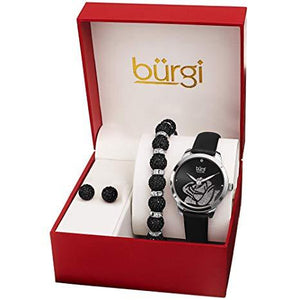 BURGI BUR244 LADIES GIFT SET STYLISH ACCENTED ROSE CUT-OUT WATCH LEATHER STRAP, AND GLITTER MARKERS, CRYSTAL BEADED BRACELET AND CRYSTAL EARRINGS
