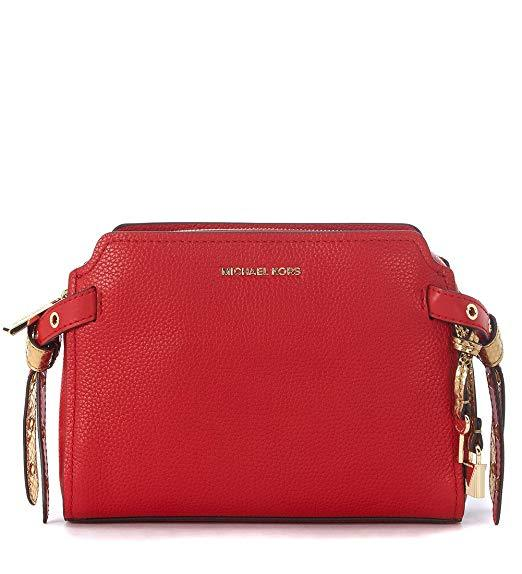 MICHAEL KORS WOMENS BRISTOL LEATHER MESSENGER HANDBAG RED MEDIUM - boutq.com