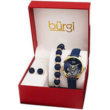 Load image into Gallery viewer, BURGI BUR244 LADIES GIFT SET STYLISH ACCENTED ROSE CUT-OUT WATCH LEATHER STRAP, AND GLITTER MARKERS, CRYSTAL BEADED BRACELET AND CRYSTAL EARRINGS