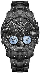 JBW LUXURY MEN'S JET SETTER III 1.18 CTW DIAMOND WRIST WATCH WITH STAINLESS STEEL LINK BRACELET - boutq.com