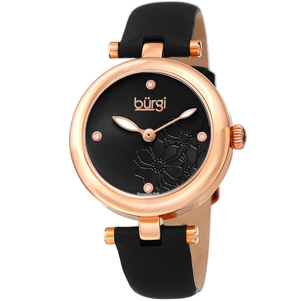 Burgi Women's BUR197 Diamond Accented Flower Dial Watch - Comfortable Leather Strap - boutq.com