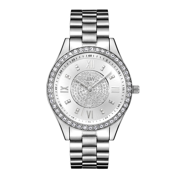 JBW Women's J6303 Mondrian Analog Display Japanese Quartz Gold Watch with Pave Diamond Face - boutq.com