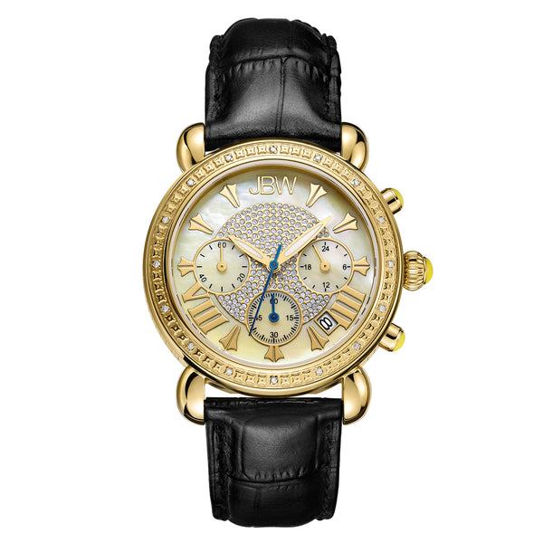 JBW Women's Victory Leather Diamond & Crystal Watch