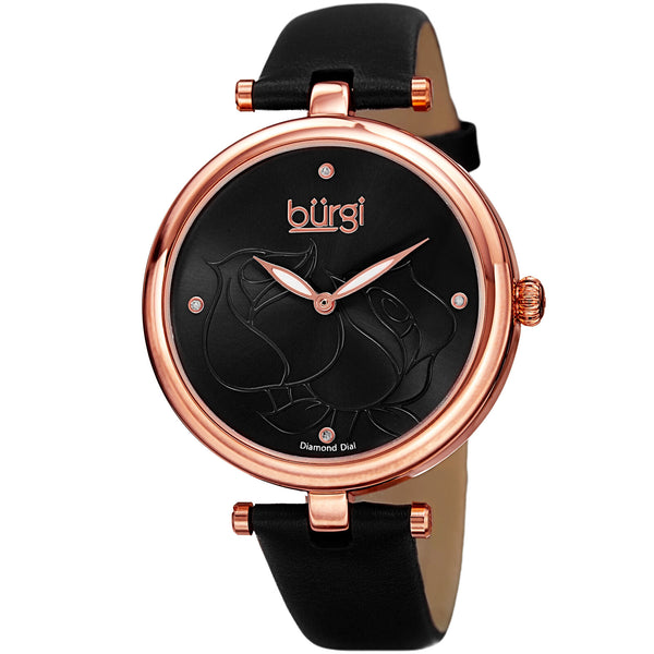 Women's Burgi Flower Engraved Diamond Dial Genuine Leather Strap Watch - BUR151 - boutq.com