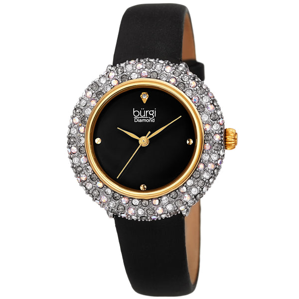 Women's Burgi BUR227 Swarovski Crystal Diamond Marker Satin Leather Strap Watch - boutq.com