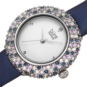 Women's Burgi BUR227 Swarovski Crystal Diamond Marker Satin Leather Strap Watch