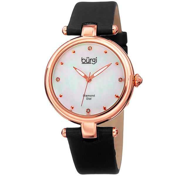 Women's Burgi Mother of Pearl Diamond Dial Genuine Leather Strap Watch - boutq.com