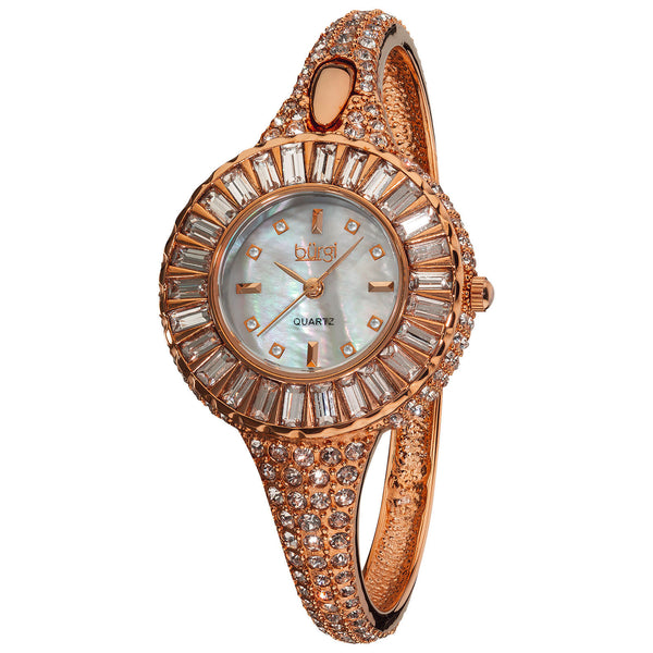 Women's Burgi BUR040 Mother of Pearl 8 Diamond Dial Baguette Crystal Watch - boutq.com