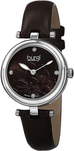 Burgi Diamond Accented Flower Dial Watch - 4 Diamond Hour Markers On Genuine Leather Strap - BUR128 - boutq.com
