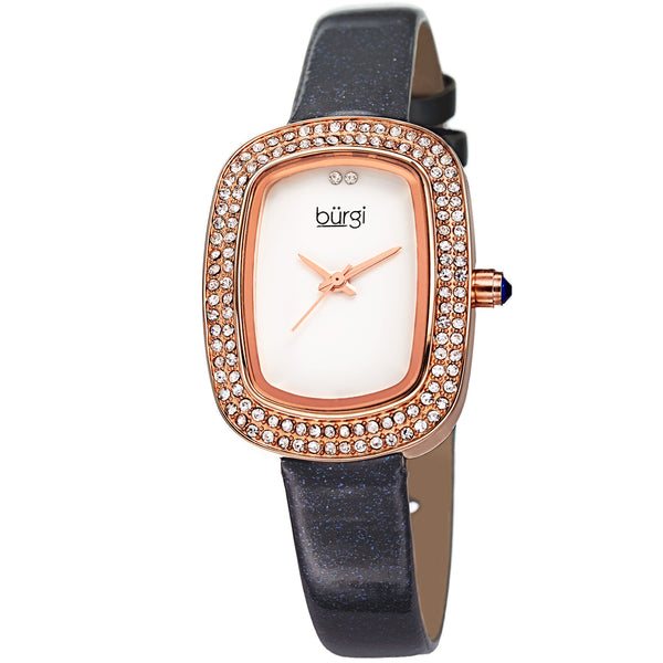 New Women's Burgi BUR111GY Swiss Quartz Swarovski Crystal Leather Strap Watch - boutq.com