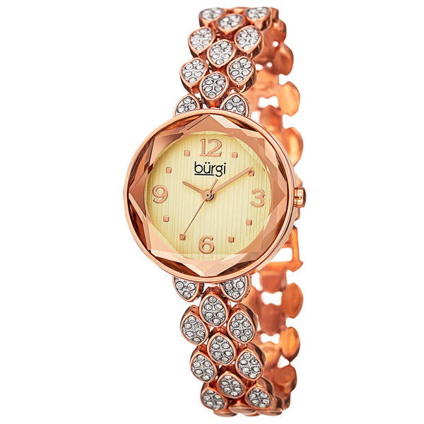 New Women's Burgi BUR124 Quartz Swarovski Crystals Rose-tone Bracelet Watch - boutq.com