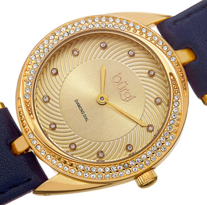 Burgi Diamond & Crystal Accented Women's Watch On Genuine Leather Strap - BUR122 - boutq.com