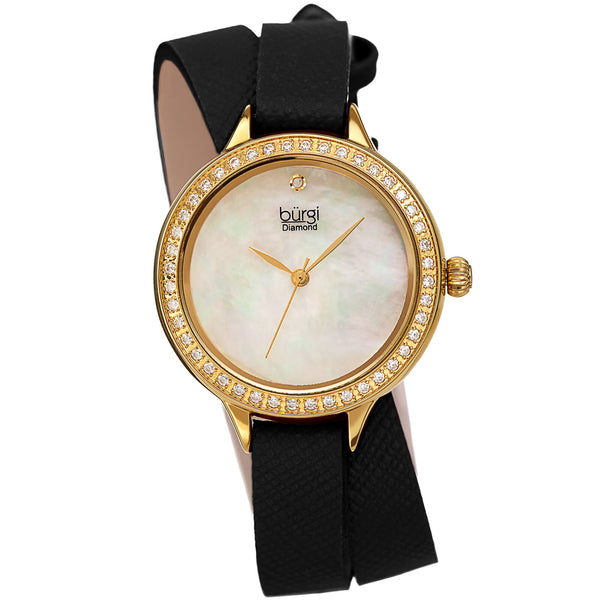 Women's Burgi Diamond Crystal Black Double Wrap Safiano Leather Watch - BUR224 - boutq.com