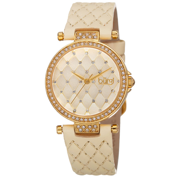 Burgi Women's Diamond & Crystal Accented Quilted Design Dial and Genuine Leather Strap Watch - BUR154 - boutq.com