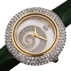 Women's Burgi BUR209 Swarovski Crystal Diamond Sparkle Leather Watch - boutq.com
