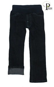 Stretch Waist Jeans in Turquoise Stitching