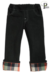 Stretch Waist Jeans with Joy Flannel Accent Cuff (larger fit)