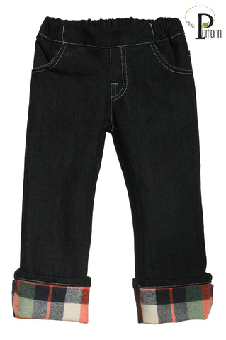 Stretch Waist Jeans with Joy Flannel Accent Cuff