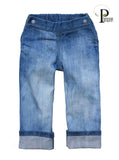 Faded (No Holes) Stretch Indigo Denim Jeans (TRAD)