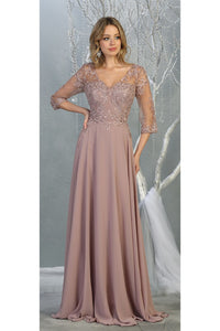 3/4 Sleeve Mother of the Bride Evening Gown - LA7820 - MAUVE