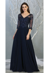 3/4 Sleeve Mother of the Bride Evening Gown - LA7820 - NAVY