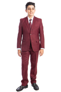 5 pc Boys Solid Suit Husky - LAB347HSA - 09-BURGUNDY / 8 -