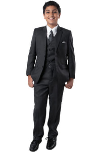 5 pc Boys Solid Suit- LAB347SA - 02-GREY / 2 - Boys suits