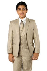 5 pc Boys Solid Suit- LAB347SA - 03-BEIGE / 2 - Boys suits