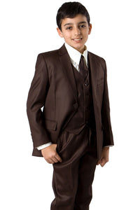 5 pc Boys Solid Suit- LAB347SA - 06-BROWN / 2 - Boys suits