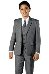 5 pc Boys Solid Suit- LAB347SA - 08-MED.GREY / 2 - Boys