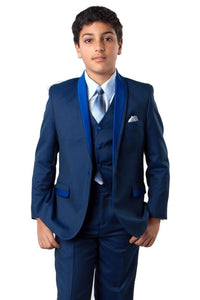 5 pc Boys Two tone Suit - LAB365SA - BLUE / 2 - Boys suits