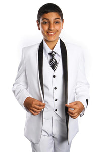 5 pc Boys Two tone Suit - LAB365SA - WHITE/BLACK / 2 - Boys